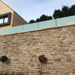 Frameless glass balustrade with obscured glass and stainless steel point fixings
