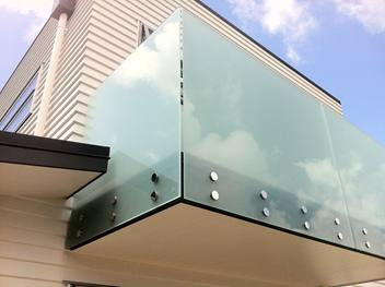 Frosted frameless glass balustrade