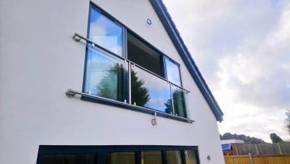 Framed glass juliette balcony